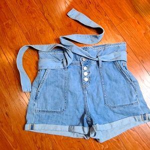 Cello high waisted self belt cargo denim shorts